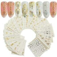 30Pcs/Set Gold Silver Water Nail Art Stickers Decal Feather D Flower B9N2 S A1O1