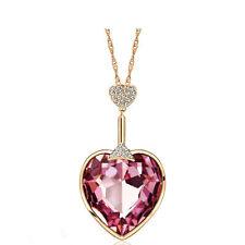 Shiny Swarovski Element Crystal Pink Heart Long Rose Gold Chain Pendant Necklace