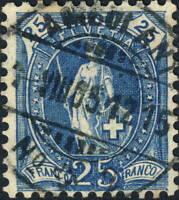 SUISSE / SWITZERLAND / SCHWEIZ - Mi.67D 25c bleu p.11-1/2x12 - AMBULANT N°2 1905