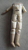 """Vintage 1920s German Kid Leather Cloth Lowers Bisque Arms Doll Body 14"""" Tall"""