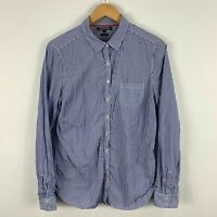 Tommy Hilfiger Button Shirt Womens 12 Blue Striped Long Sleeve Fitted