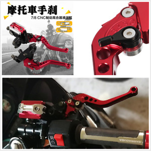 1 Pair 22mm Motorcycle Brake Clutch Master Cylinder Reservoir Levers Red Alloy