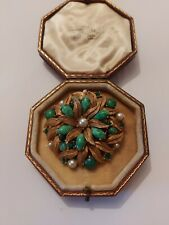 Vintage Art Deco Peking Green Glass And Pearl Large Brooch Pin