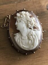 Fine Antique Victorian 9ct Gold Mounted Carved Shell Cameo Brooch - Circa 1880
