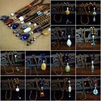 Wood Beads Statement Necklace Vintage Ethnic Triangle Nepal Buddhist Necklace