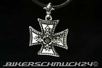 Eisernes Kreuz Iron Cross Anhänger Edelstahl mit Ritterlien & Zirkonia Geschenk