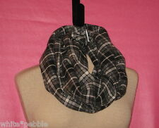 Handmade Cowl/Infinity Scarf - Black and white plaid- Wood Blend