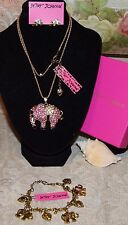 3pc Betsey Johnson STUNNING Crystal Pink Bird Necklace Pearl Earrings Bracelet