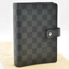 Auth Louis Vuitton Damier Graphite Agenda MM Day Planner Cover R20242 #S1744