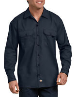 Dickies Men's Long Sleeve Heavyweight Cotton Work Shirt Brand New with Tags Blue