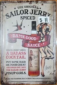 Sailor Jerry Spiced Rum Metal Tin Signs Bar Shed & Man Cave Signs AU Seller