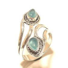 Fashion Ring Jewelry Adjustable Size 925 Silver Plated Chalcedony stone