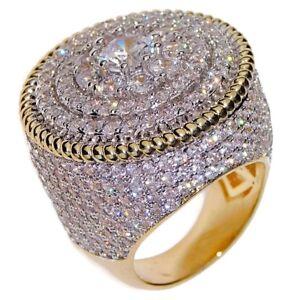 Men's Huge Flower Ring 25MM Gold 2-Tone Micro Pave Big Hip Hop Iced CZ SZ 7-13