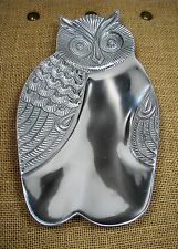"""Two's Company Silver Tone Metal Owl Tray w/ Embossed Features 9.5"""" x 5.5"""""""