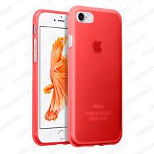 Funda + CRISTAL TEMPLADO Opcional para iPhone 8 silicona Gel TPU Mate ROJO ROJA
