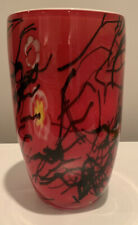 Hand Blown Glass Vase Encased Stunning Red with Millefiori