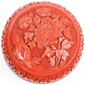 Vintage Chinese Carved Cinnabar Lacquer Round Scholar's Box Flowers Enamel Old