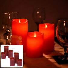 6PCE RED FLICKERING FLAME LED FLAMELESS REAL WAX MOOD CANDLES + BATTERIES