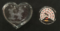 DISNEYLAND HEART CLEAR GLASS TRINKET BOX MICKEY & MINNIE MOUSE & 1995 DISNEY PIN