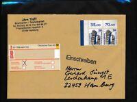 BRD 1407A wP waagerechtes Paar Briefe/Belege vom Eckrand als MeF auf Einschreibe