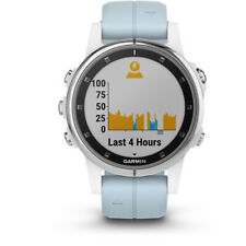 Garmin Fenix 5S Plus Multi-Sport GPS Watch, White with sea foam strap (blue)