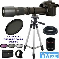 TELESCOPE ZOOM LENS 500-1000MM + SOLAR ECLIPSE FILTER FOR CANON T3 T3I T5 T6 T7