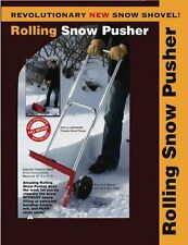 Snow Shovel Push Pusher Wheels Wheeled Manual Plow Shovel Steel Handles