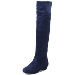 Women's Over The Knee High Boots Low Heel Elastic Suede Winter Warm Riding Shoes