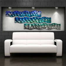 "Ocean Design Modern Art Decor Metal Wall Art Panels ""Aqua Curves"" Aluminum"
