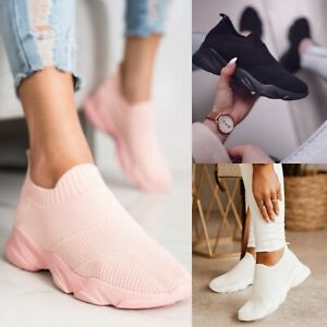 NEW LADIES WOMENS SLIP ON SPORT RUNNING WALKING CANVAS COMFY TRAINERS SHOES