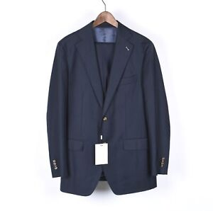 New Suit Supply Lazio Men Plain Blue Suit Blazer & Pants Set Size EU50 UK40