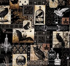 Nevermore Collage Gothic Patchworkstoffe Stoffe Halloween Totenköpfe Patchwork