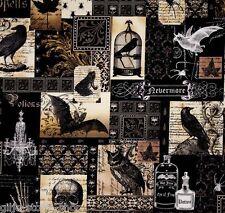 Nevermore collage Gothic Patchwork sostanze sostanze Halloween morti teste Patchwork