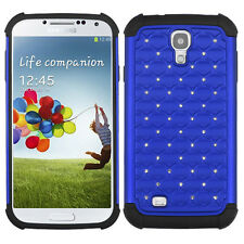 Samsung Galaxy S4 S IV HYBRID IMPACT Dazzling Diamond Phone Case Cover Blue Blk