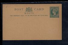 Malta  small postal card  half penny green unused       MS0917
