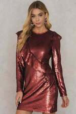 GLAMOROUS BNWT Womens Red Long Sleeve Sequined Red Dress Size 12 RRP £72