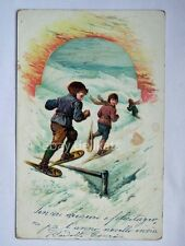 BAMBINI montagna neve ciaspole snowshoes snow AK old postcard vecchia cartolina