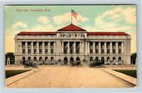 Cleveland OH, City Hall, Period Cars, Flag Street View Vintage Ohio Postcard A75