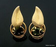 Vecchi 1960's Designer coro Jade o Aventurin foglie Orecchini Orecchini, EARRINGS