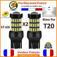 2 x Ampoule 57 LED T20 7443 W21 5W Blanc Xénon Feux De Jour Recul Brouillard