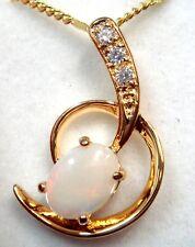 Lady Jewelry Crystal Opal Stone 18k YGP 925 Sterling Silver Fire Opal Pendant