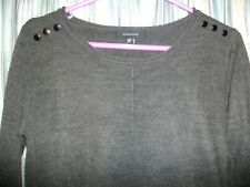 Dark Grey Long Thin-Knit Jumper Size 8 Atmosphere
