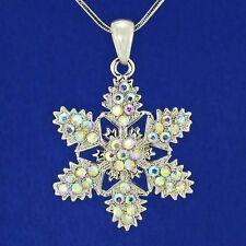 "Snowflake Made With Swarovski Crystal AB Pendant Christmas Necklace 18"" Chain"