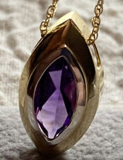 14k Purple Stone Two-tone Gold Pendant 1.6g Stamped 14k Mexico And Jeweler Mark
