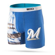 STANCE MLB MILWAUKEE BREWERS Basilone Boxer Brief TIE DYE BLUE SMALL M302B16TBW