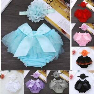 Baby Girls Frilly Bloomers Knickers Birthday Flower Diaper Cover Photo Prop Bow