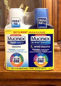 2 Pk Mucinex Fast-Max Day&Night SEVERE Cold&Flu Medicine All-In-one EXP 03/2022