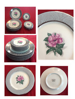 VINTAGE Vogue Fine China Dinnerware SILVER LACE Circa 1940s Set of 16