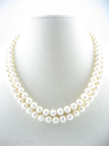 """17"""" 8mm White Real Cultured Freshwater Pearl Double Row Necklace Choker Chain"""