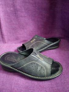 Fly Flot Black Leather Mule Sandals Size 5